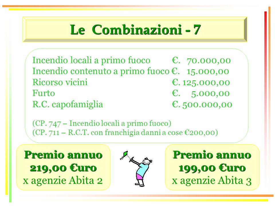 Le Combinazioni - 7 Premio annuo 219,00 uro x agenzie Abita 2 Incendio locali a primo fuoco.