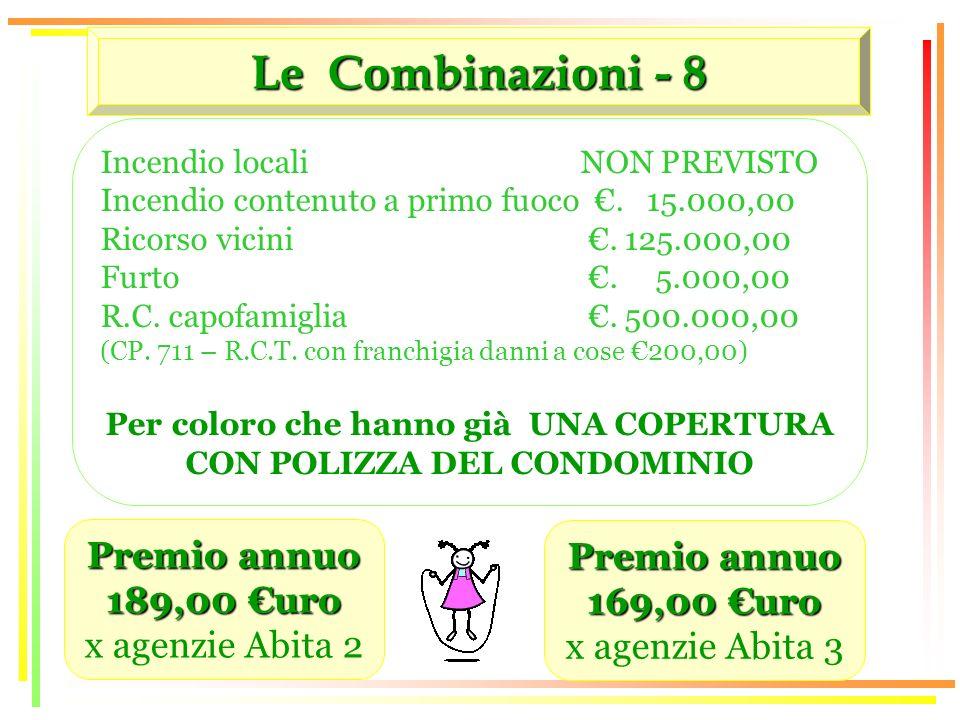 Le Combinazioni - 8 Premio annuo 189,00 uro x agenzie Abita 2 Incendio locali NON PREVISTO Incendio contenuto a primo fuoco.