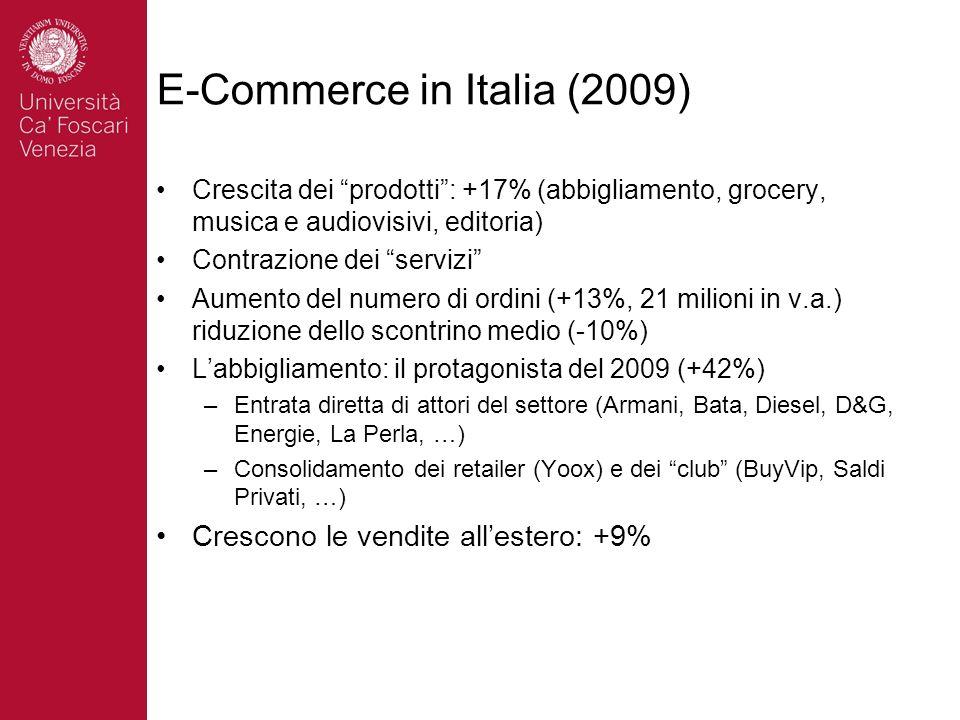 E-Commerce in Italia (2009) Crescita dei prodotti: +17% (abbigliamento, grocery, musica e audiovisivi, editoria) Contrazione dei servizi Aumento del numero di ordini (+13%, 21 milioni in v.a.) riduzione dello scontrino medio (-10%) Labbigliamento: il protagonista del 2009 (+42%) –Entrata diretta di attori del settore (Armani, Bata, Diesel, D&G, Energie, La Perla, …) –Consolidamento dei retailer (Yoox) e dei club (BuyVip, Saldi Privati, …) Crescono le vendite allestero: +9%