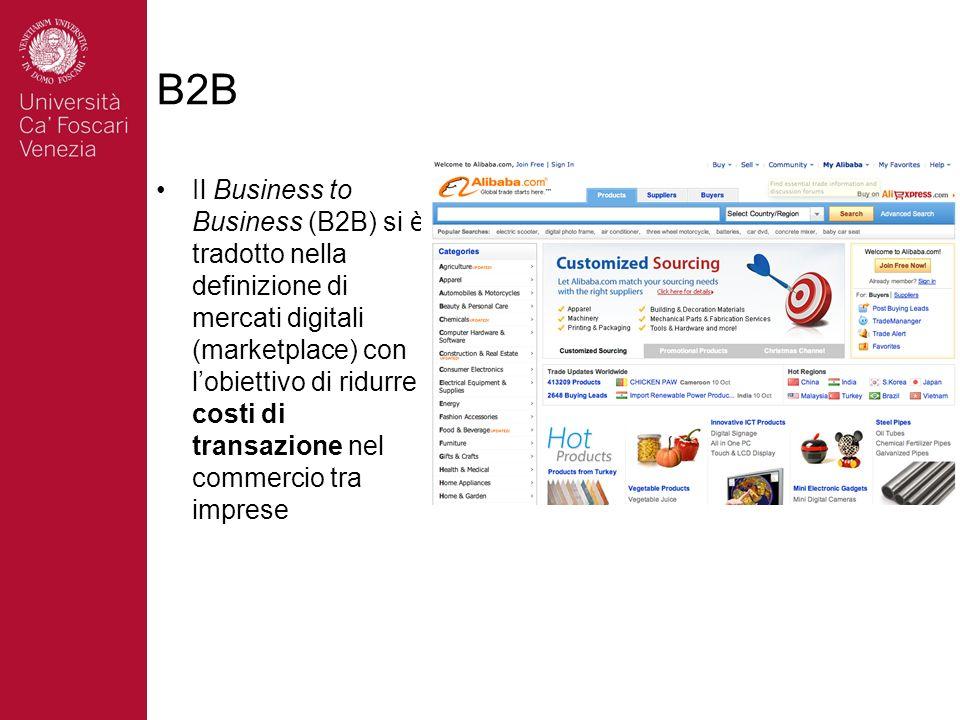 B2B Il Business to Business (B2B) si è tradotto nella definizione di mercati digitali (marketplace) con lobiettivo di ridurre i costi di transazione n