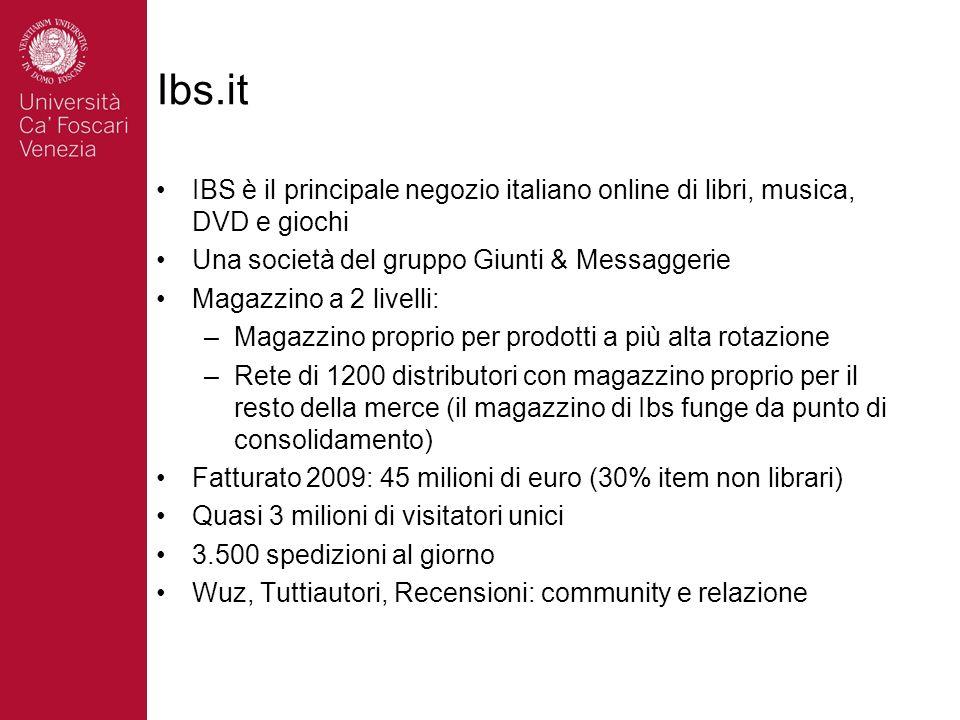 Ibs.it IBS è il principale negozio italiano online di libri, musica, DVD e giochi Una società del gruppo Giunti & Messaggerie Magazzino a 2 livelli: –Magazzino proprio per prodotti a più alta rotazione –Rete di 1200 distributori con magazzino proprio per il resto della merce (il magazzino di Ibs funge da punto di consolidamento) Fatturato 2009: 45 milioni di euro (30% item non librari) Quasi 3 milioni di visitatori unici 3.500 spedizioni al giorno Wuz, Tuttiautori, Recensioni: community e relazione