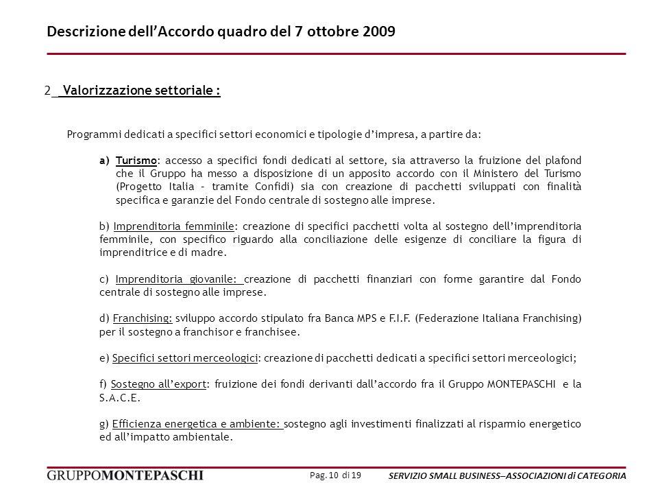 Pag. 10 di 19 SERVIZIO SMALL BUSINESS–ASSOCIAZIONI di CATEGORIA Descrizione dellAccordo quadro del 7 ottobre 2009 2_ Valorizzazione settoriale : Progr