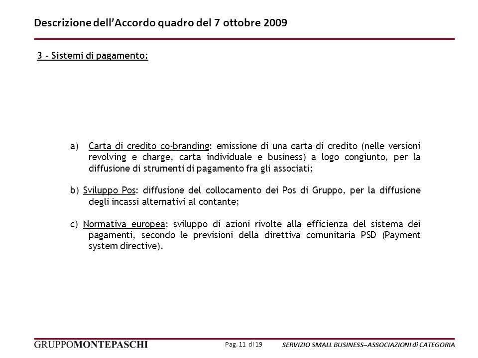 Pag. 11 di 19 SERVIZIO SMALL BUSINESS–ASSOCIAZIONI di CATEGORIA Descrizione dellAccordo quadro del 7 ottobre 2009 a)Carta di credito co-branding: emis