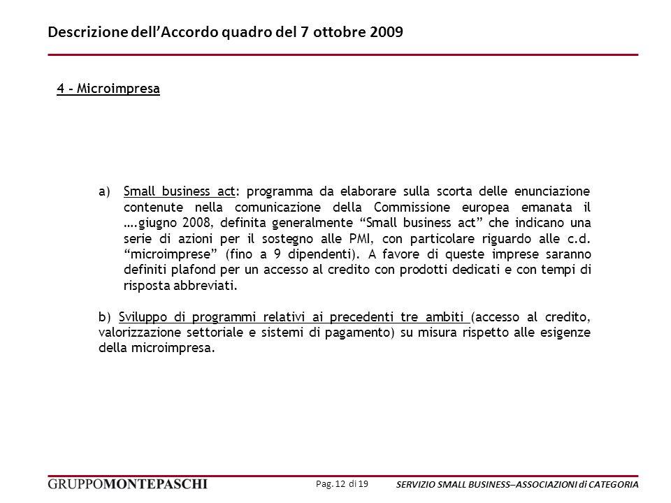 Pag. 12 di 19 SERVIZIO SMALL BUSINESS–ASSOCIAZIONI di CATEGORIA Descrizione dellAccordo quadro del 7 ottobre 2009 a)Small business act: programma da e
