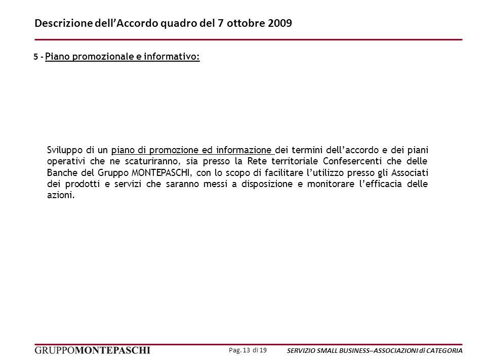Pag. 13 di 19 SERVIZIO SMALL BUSINESS–ASSOCIAZIONI di CATEGORIA Descrizione dellAccordo quadro del 7 ottobre 2009 Sviluppo di un piano di promozione e