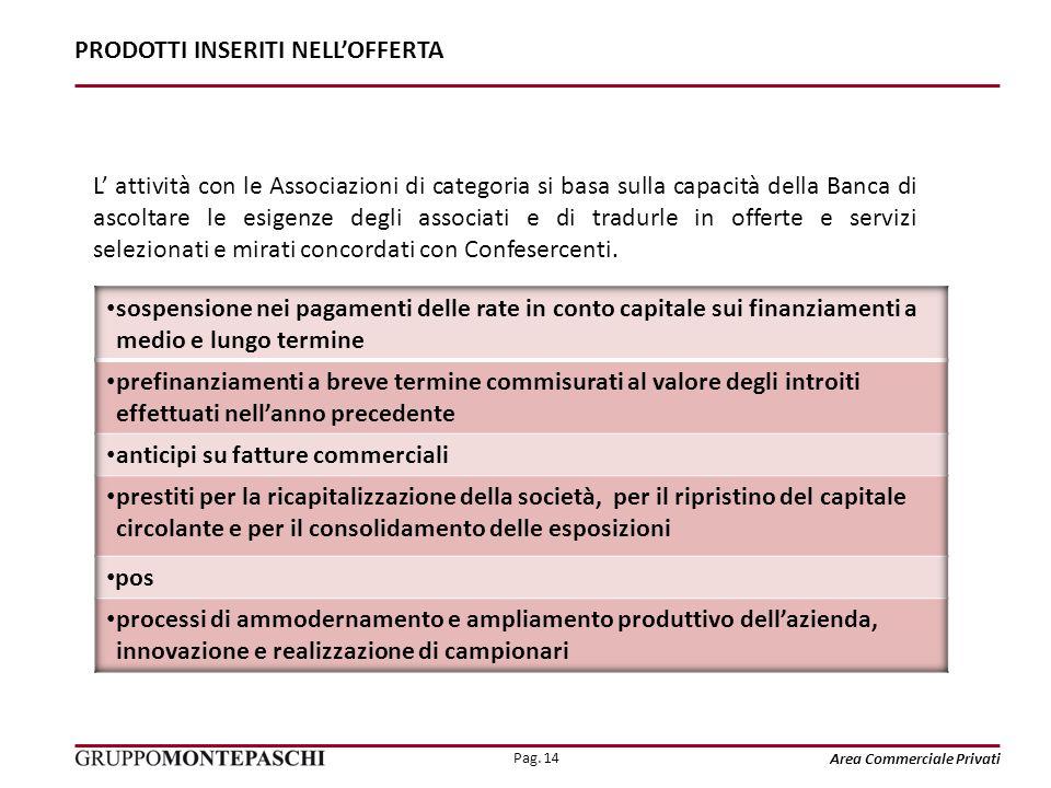 Pag. 14 Area Commerciale Privati L attività con le Associazioni di categoria si basa sulla capacità della Banca di ascoltare le esigenze degli associa