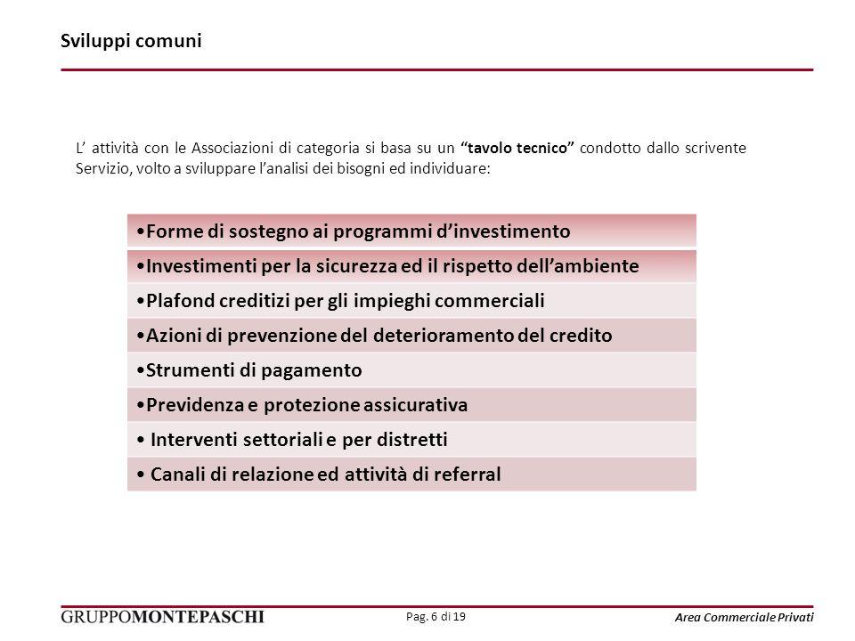 Pag. 6 di 19 Area Commerciale Privati Sviluppi comuni L attività con le Associazioni di categoria si basa su un tavolo tecnico condotto dallo scrivent
