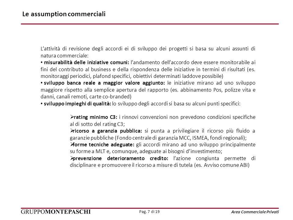 Pag. 7 di 19 Area Commerciale Privati Le assumption commerciali Lattività di revisione degli accordi ei di sviluppo dei progetti si basa su alcuni ass