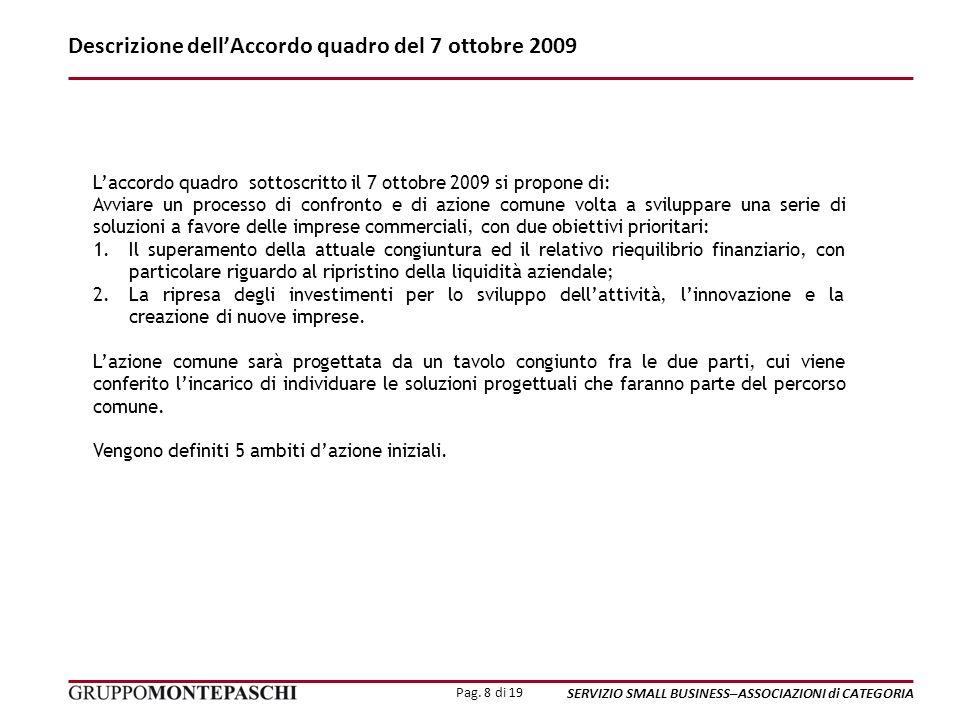 Pag. 8 di 19 SERVIZIO SMALL BUSINESS–ASSOCIAZIONI di CATEGORIA Descrizione dellAccordo quadro del 7 ottobre 2009 Laccordo quadro sottoscritto il 7 ott