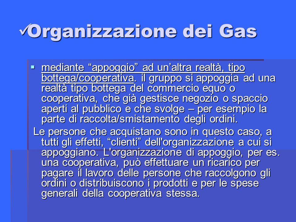 Organizzazione dei Gas Organizzazione dei Gas mediante appoggio ad unaltra realtà, tipo bottega/cooperativa.