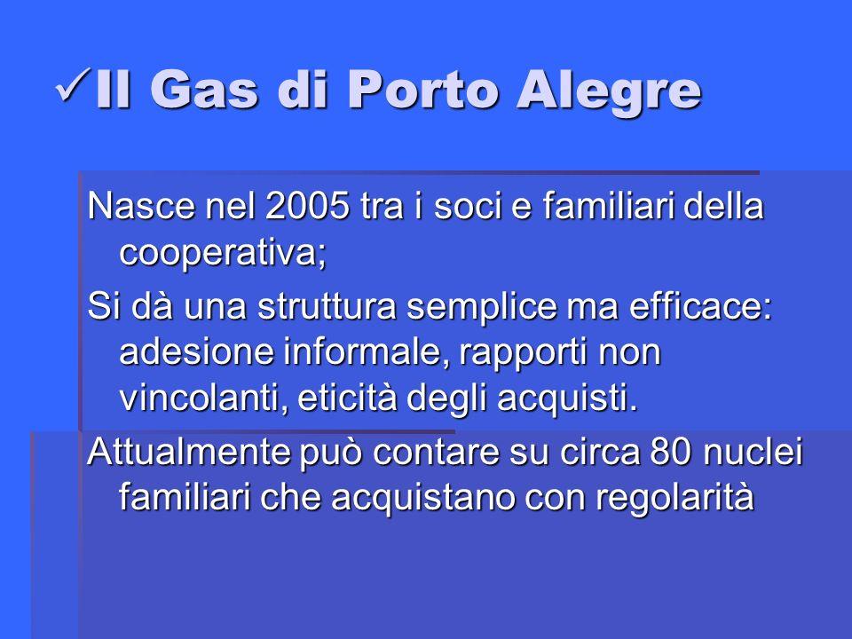 Il Gas di Porto Alegre Il Gas di Porto Alegre Nasce nel 2005 tra i soci e familiari della cooperativa; Si dà una struttura semplice ma efficace: adesione informale, rapporti non vincolanti, eticità degli acquisti.
