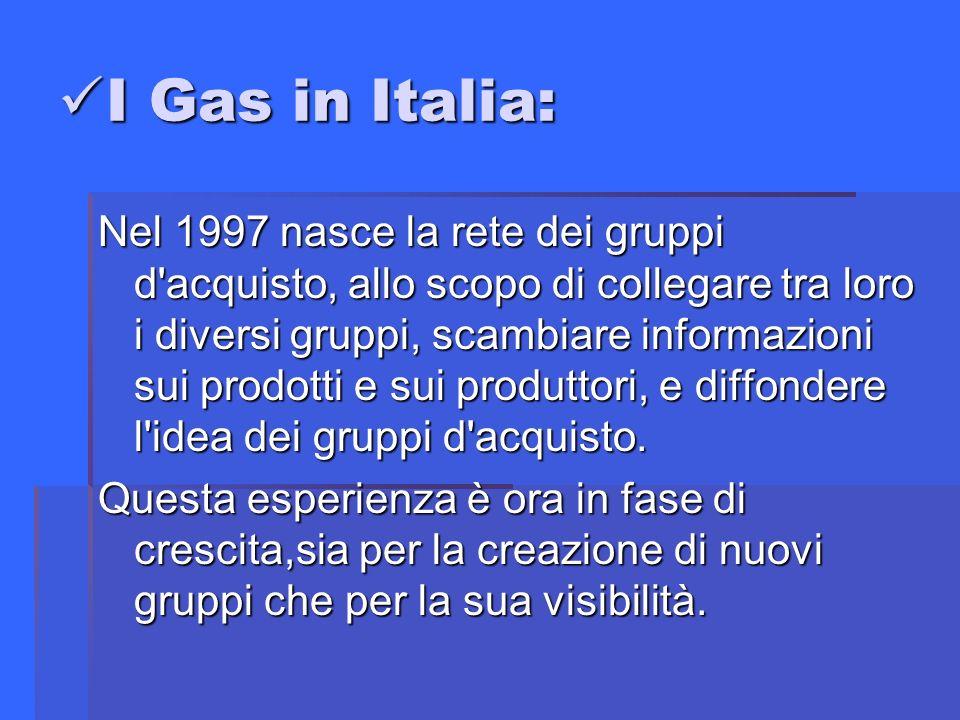 I Gas in Italia: I Gas in Italia: Nel 1997 nasce la rete dei gruppi d acquisto, allo scopo di collegare tra loro i diversi gruppi, scambiare informazioni sui prodotti e sui produttori, e diffondere l idea dei gruppi d acquisto.