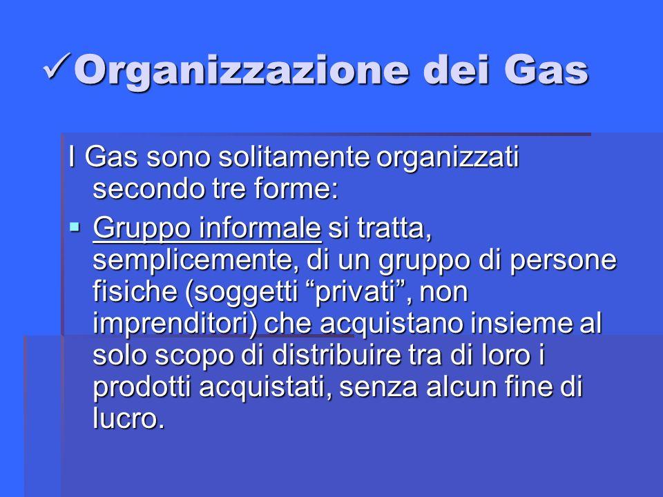Organizzazione dei Gas Organizzazione dei Gas I Gas sono solitamente organizzati secondo tre forme: Gruppo informale si tratta, semplicemente, di un gruppo di persone fisiche (soggetti privati, non imprenditori) che acquistano insieme al solo scopo di distribuire tra di loro i prodotti acquistati, senza alcun fine di lucro.