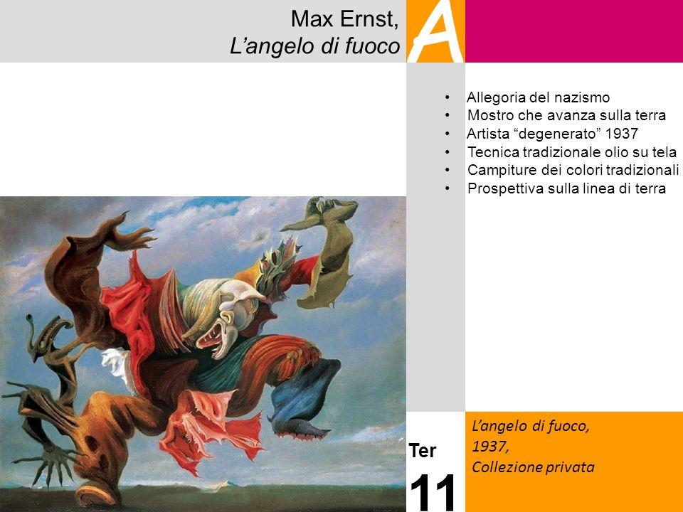 Max Ernst, Langelo di fuoco A Langelo di fuoco, 1937, Collezione privata Ter 11 Allegoria del nazismo Mostro che avanza sulla terra Artista degenerato