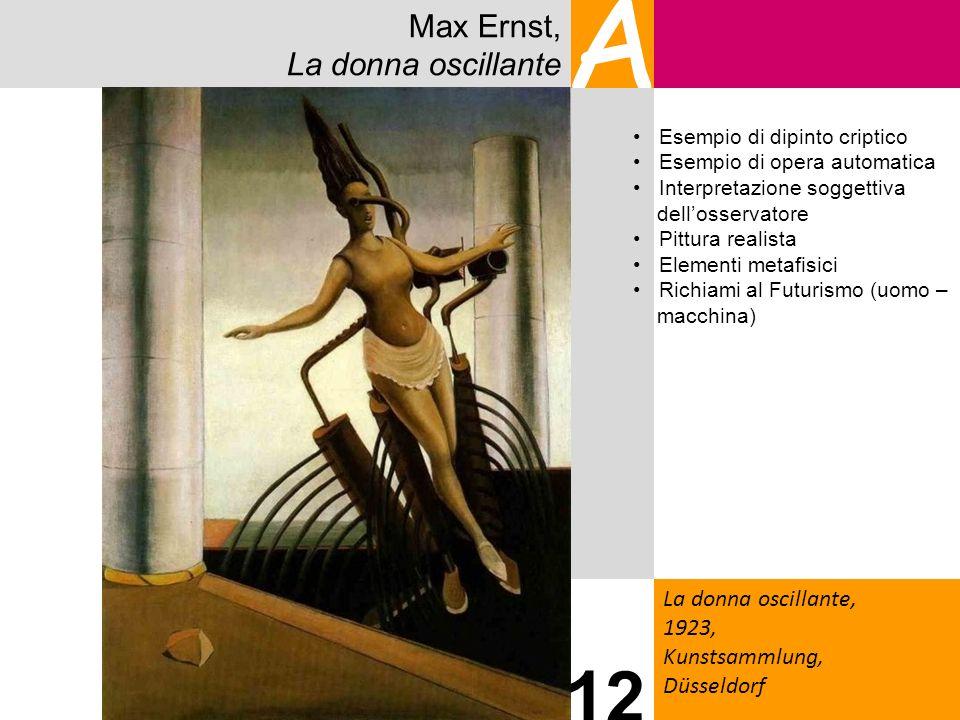 Max Ernst, La donna oscillante A La donna oscillante, 1923, Kunstsammlung, Düsseldorf 12 Esempio di dipinto criptico Esempio di opera automatica Inter
