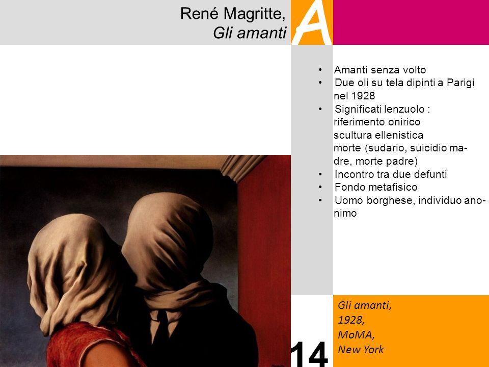 René Magritte, Gli amanti A Gli amanti, 1928, MoMA, New York 14 Amanti senza volto Due oli su tela dipinti a Parigi nel 1928 Significati lenzuolo : ri