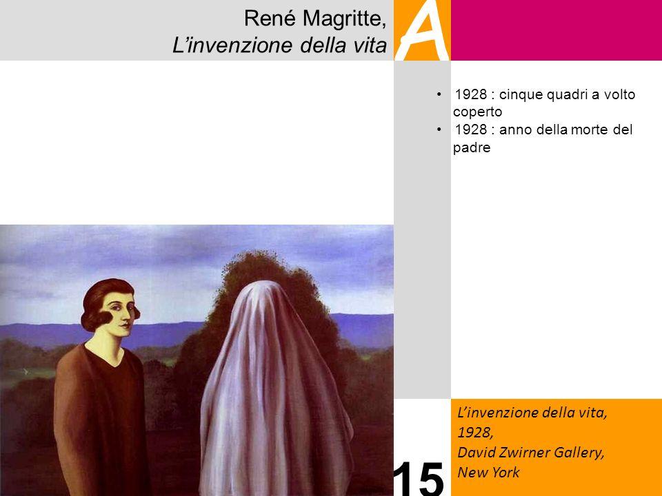René Magritte, Linvenzione della vita A Linvenzione della vita, 1928, David Zwirner Gallery, New York 15 1928 : cinque quadri a volto coperto 1928 : a