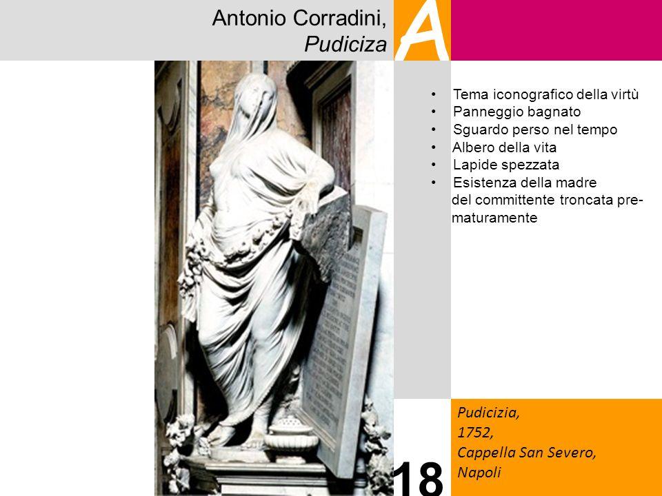 Antonio Corradini, Pudiciza A Pudicizia, 1752, Cappella San Severo, Napoli 18 Tema iconografico della virtù Panneggio bagnato Sguardo perso nel tempo