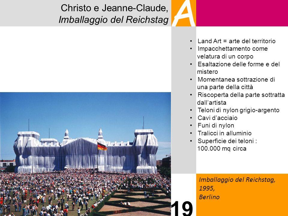 Christo e Jeanne-Claude, Imballaggio del Reichstag A Imballaggio del Reichstag, 1995, Berlino 19 Land Art = arte del territorio Impacchettamento come