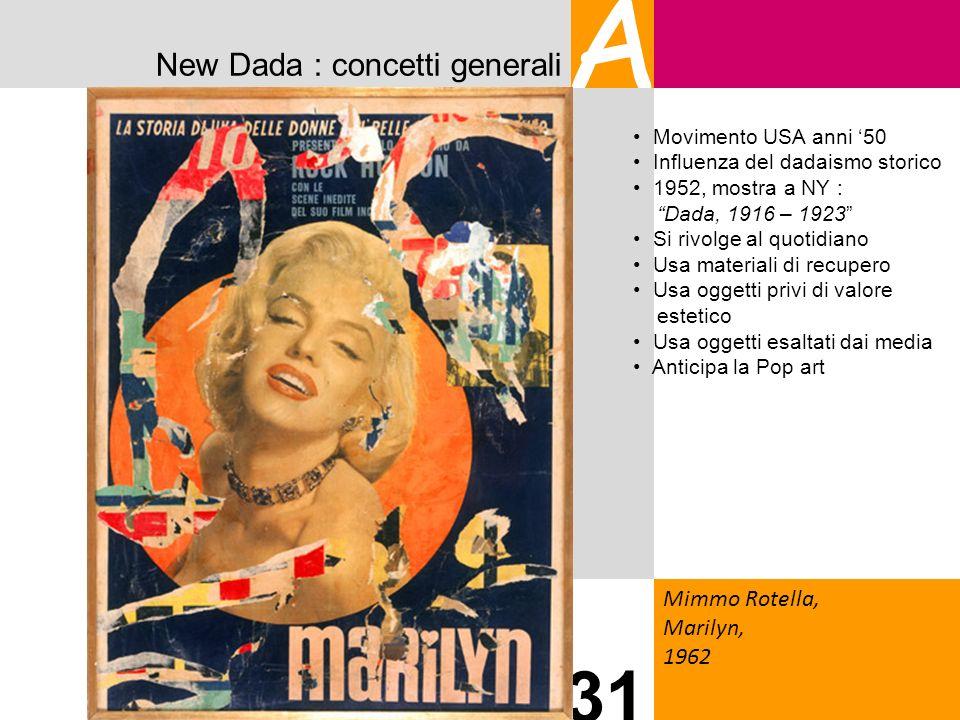 New Dada : concetti generali A Mimmo Rotella, Marilyn, 1962 31 Movimento USA anni 50 Influenza del dadaismo storico 1952, mostra a NY : Dada, 1916 – 1