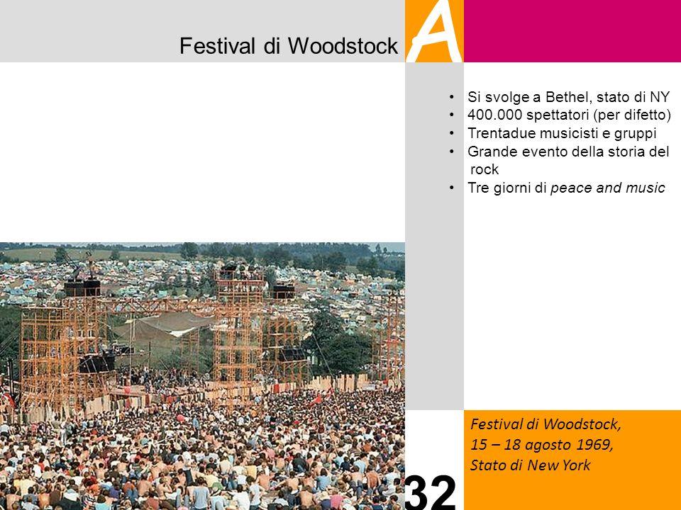 Festival di Woodstock A Festival di Woodstock, 15 – 18 agosto 1969, Stato di New York 32 Si svolge a Bethel, stato di NY 400.000 spettatori (per difet