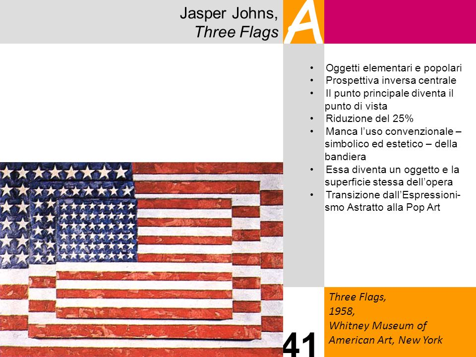 Jasper Johns, Three Flags A Three Flags, 1958, Whitney Museum of American Art, New York 41 Oggetti elementari e popolari Prospettiva inversa centrale