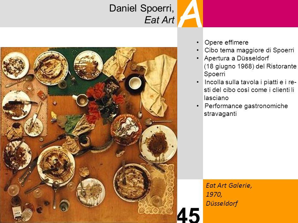 Daniel Spoerri, Eat Art A Eat Art Galerie, 1970, Düsseldorf 45 Opere effimere Cibo tema maggiore di Spoerri Apertura a Düsseldorf (18 giugno 1968) del