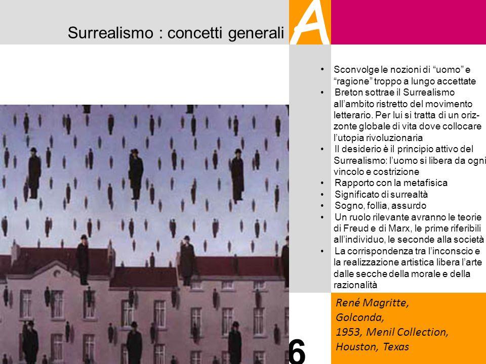 Surrealismo : concetti generali A René Magritte, Golconda, 1953, Menil Collection, Houston, Texas 6 Sconvolge le nozioni di uomo e ragione troppo a lu