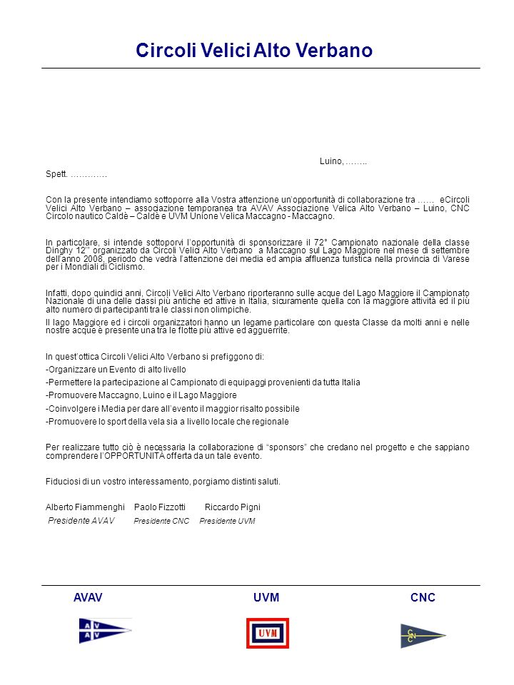 Circoli Velici Alto Verbano AVAV UVM CNC Appendice
