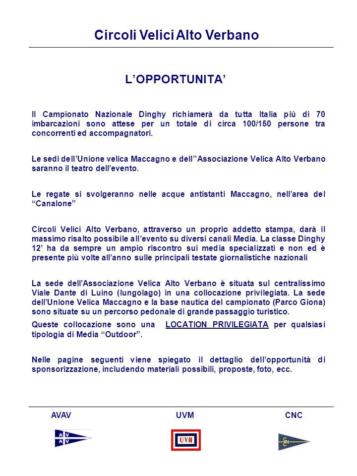 Circoli Velici Alto Verbano AVAV UVM CNC LOPPORTUNITA Il Campionato Nazionale Dinghy richiamerà da tutta Italia più di 70 imbarcazioni sono attese per un totale di circa 100/150 persone tra concorrenti ed accompagnatori.