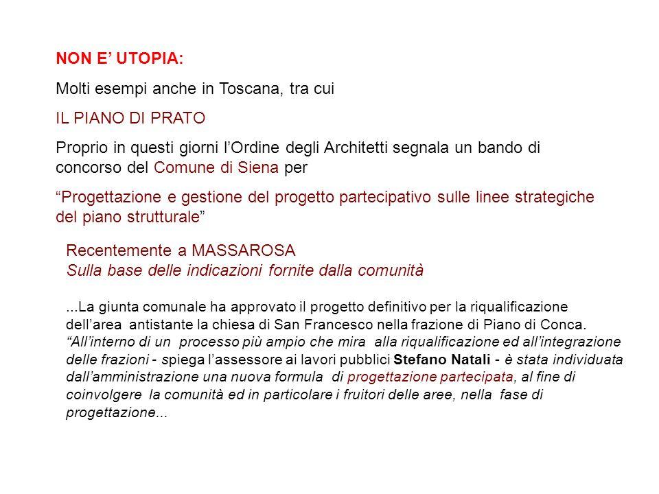 NON E UTOPIA: Molti esempi anche in Toscana, tra cui IL PIANO DI PRATO Proprio in questi giorni lOrdine degli Architetti segnala un bando di concorso