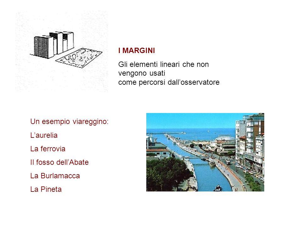 I MARGINI Gli elementi lineari che non vengono usati come percorsi dallosservatore Un esempio viareggino: Laurelia La ferrovia Il fosso dellAbate La B