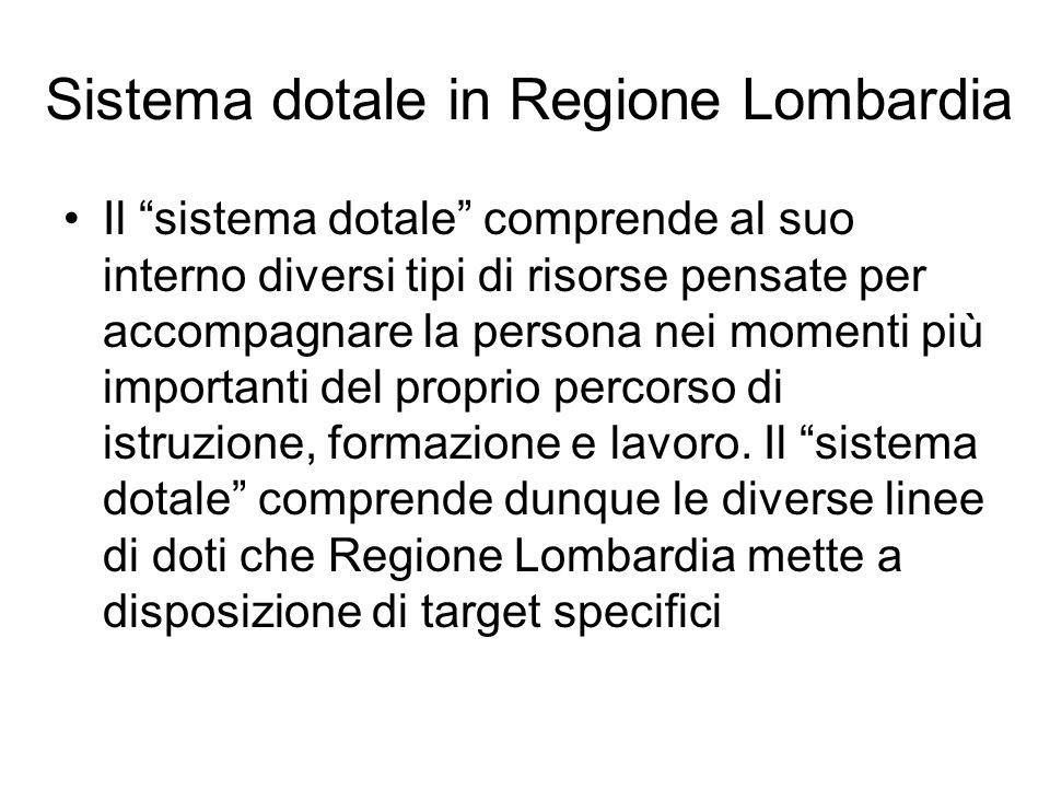 Sistema dotale in Regione Lombardia Il sistema dotale comprende al suo interno diversi tipi di risorse pensate per accompagnare la persona nei momenti più importanti del proprio percorso di istruzione, formazione e lavoro.