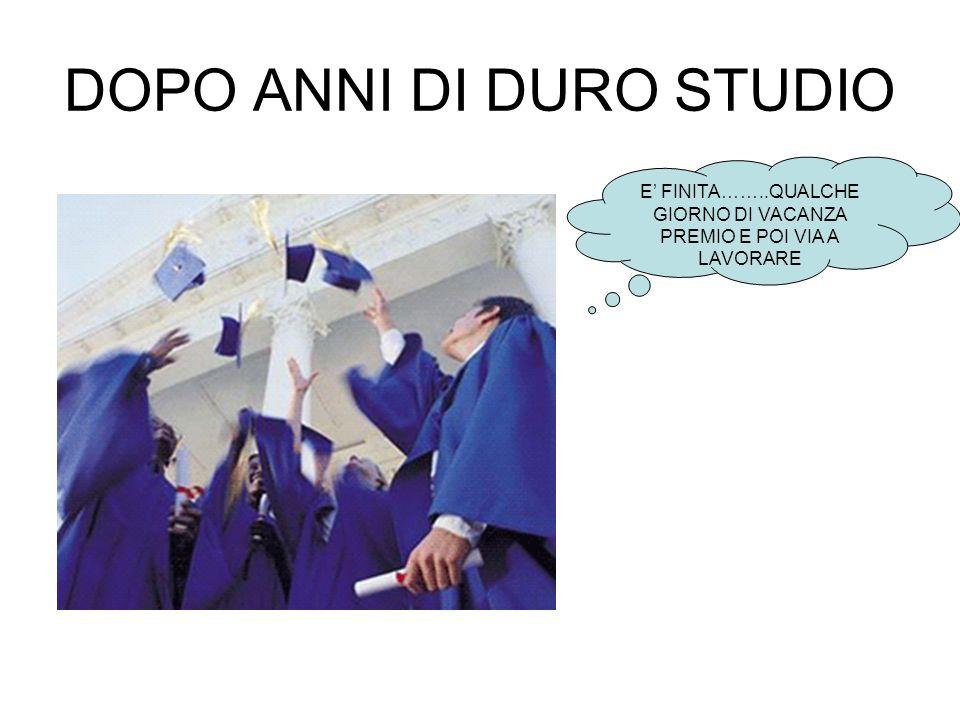 DOPO ANNI DI DURO STUDIO E FINITA……..QUALCHE GIORNO DI VACANZA PREMIO E POI VIA A LAVORARE