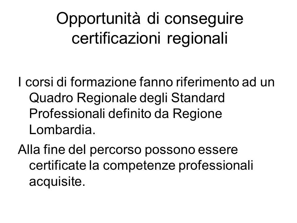 Opportunità di conseguire certificazioni regionali I corsi di formazione fanno riferimento ad un Quadro Regionale degli Standard Professionali definito da Regione Lombardia.