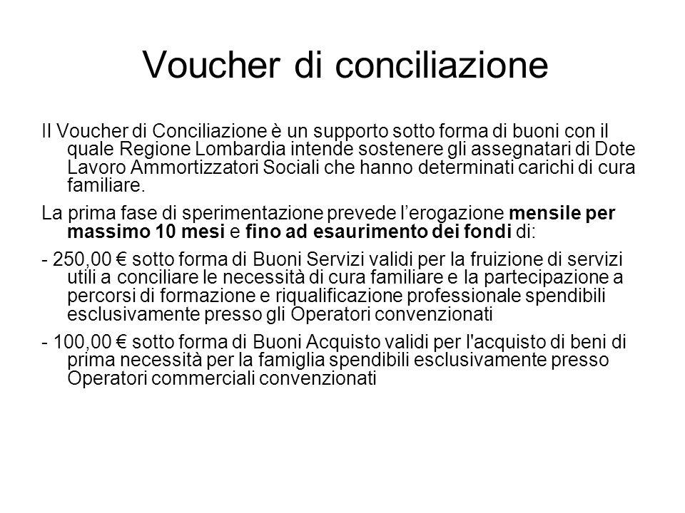 Voucher di conciliazione Il Voucher di Conciliazione è un supporto sotto forma di buoni con il quale Regione Lombardia intende sostenere gli assegnatari di Dote Lavoro Ammortizzatori Sociali che hanno determinati carichi di cura familiare.