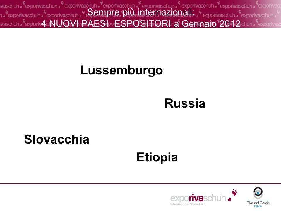 Sempre più internazionali: 4 NUOVI PAESI ESPOSITORI a Gennaio 2012 Lussemburgo Russia Slovacchia Etiopia