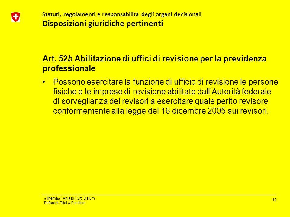 10 «Thema» | Anlass | Ort, Datum Referent, Titel & Funktion Statuti, regolamenti e responsabilità degli organi decisionali Disposizioni giuridiche pertinenti Art.