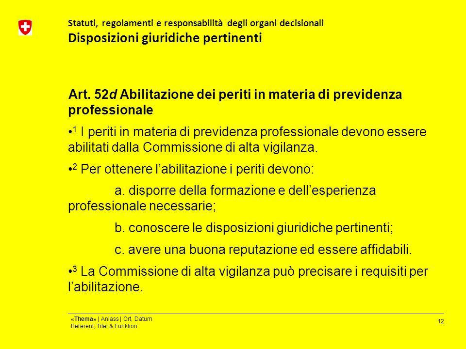12 «Thema» | Anlass | Ort, Datum Referent, Titel & Funktion Statuti, regolamenti e responsabilità degli organi decisionali Disposizioni giuridiche pertinenti Art.