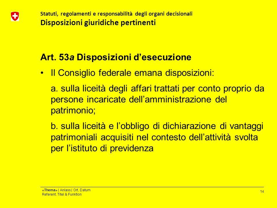 14 «Thema» | Anlass | Ort, Datum Referent, Titel & Funktion Statuti, regolamenti e responsabilità degli organi decisionali Disposizioni giuridiche pertinenti Art.