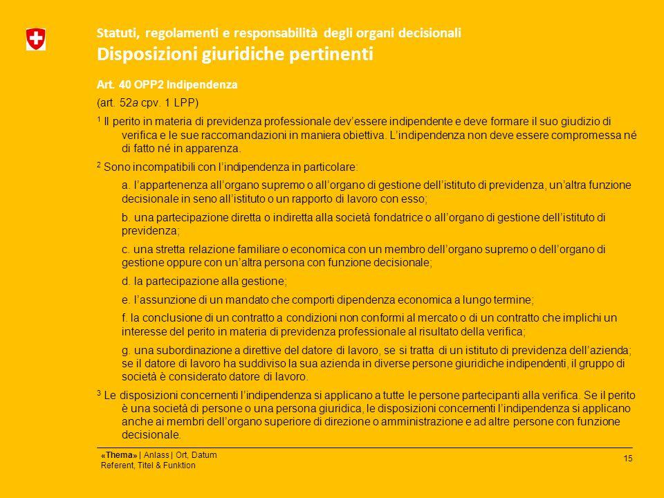 15 «Thema» | Anlass | Ort, Datum Referent, Titel & Funktion Statuti, regolamenti e responsabilità degli organi decisionali Disposizioni giuridiche pertinenti Art.