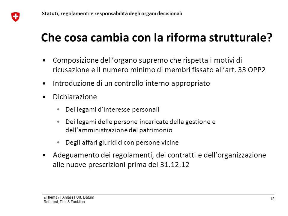 18 «Thema» | Anlass | Ort, Datum Referent, Titel & Funktion Che cosa cambia con la riforma strutturale.