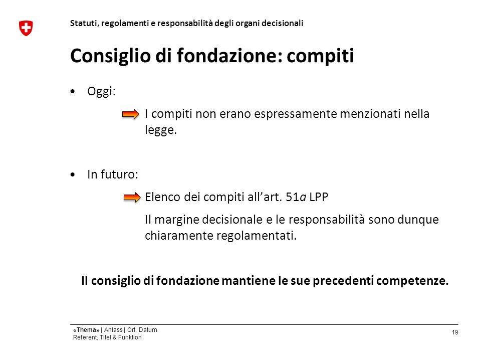 19 «Thema» | Anlass | Ort, Datum Referent, Titel & Funktion Consiglio di fondazione: compiti Oggi: I compiti non erano espressamente menzionati nella legge.
