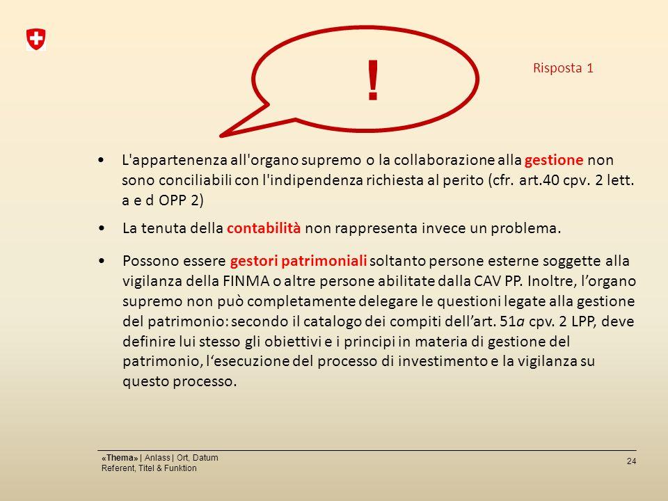 24 «Thema» | Anlass | Ort, Datum Referent, Titel & Funktion L appartenenza all organo supremo o la collaborazione alla gestione non sono conciliabili con l indipendenza richiesta al perito (cfr.