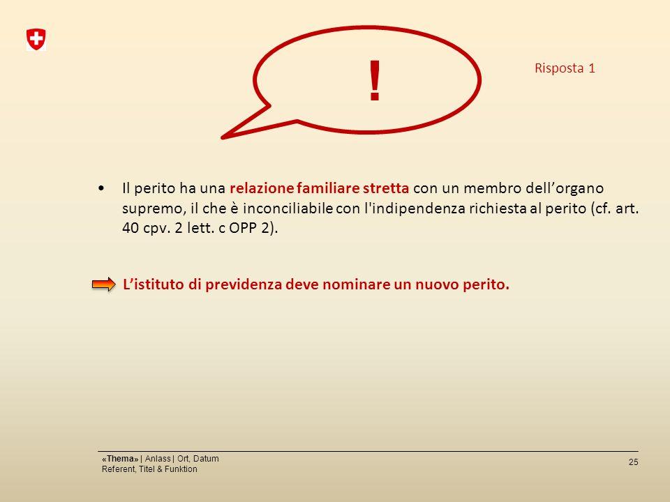 25 «Thema» | Anlass | Ort, Datum Referent, Titel & Funktion Il perito ha una relazione familiare stretta con un membro dellorgano supremo, il che è inconciliabile con l indipendenza richiesta al perito (cf.