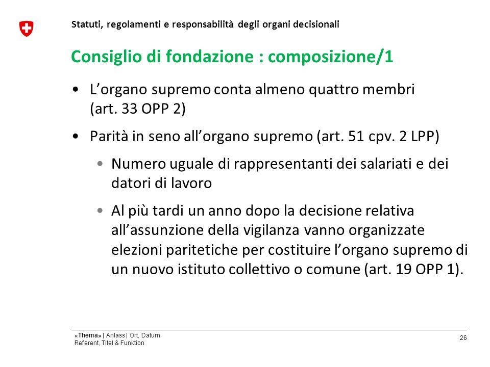 26 «Thema» | Anlass | Ort, Datum Referent, Titel & Funktion Consiglio di fondazione : composizione/1 Lorgano supremo conta almeno quattro membri (art.