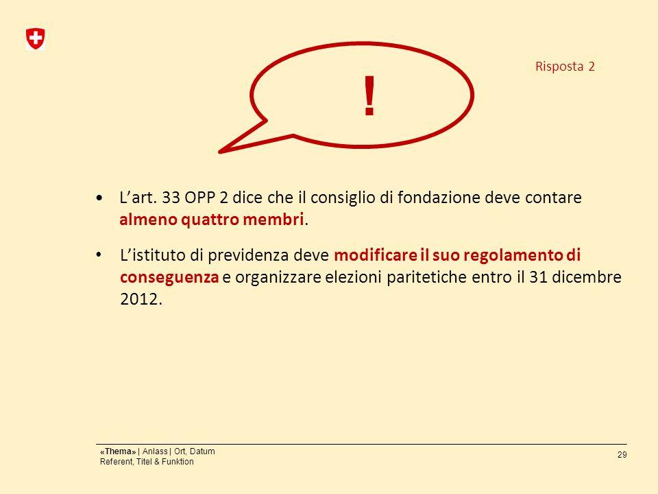 29 «Thema» | Anlass | Ort, Datum Referent, Titel & Funktion Lart.