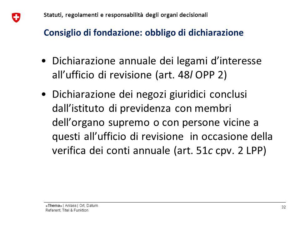 32 «Thema» | Anlass | Ort, Datum Referent, Titel & Funktion Consiglio di fondazione: obbligo di dichiarazione Dichiarazione annuale dei legami dinteresse allufficio di revisione (art.