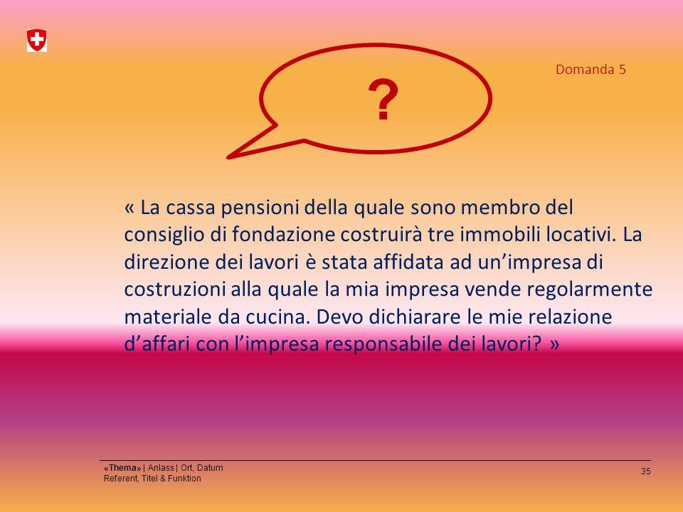 35 «Thema» | Anlass | Ort, Datum Referent, Titel & Funktion « La cassa pensioni della quale sono membro del consiglio di fondazione costruirà tre immobili locativi.