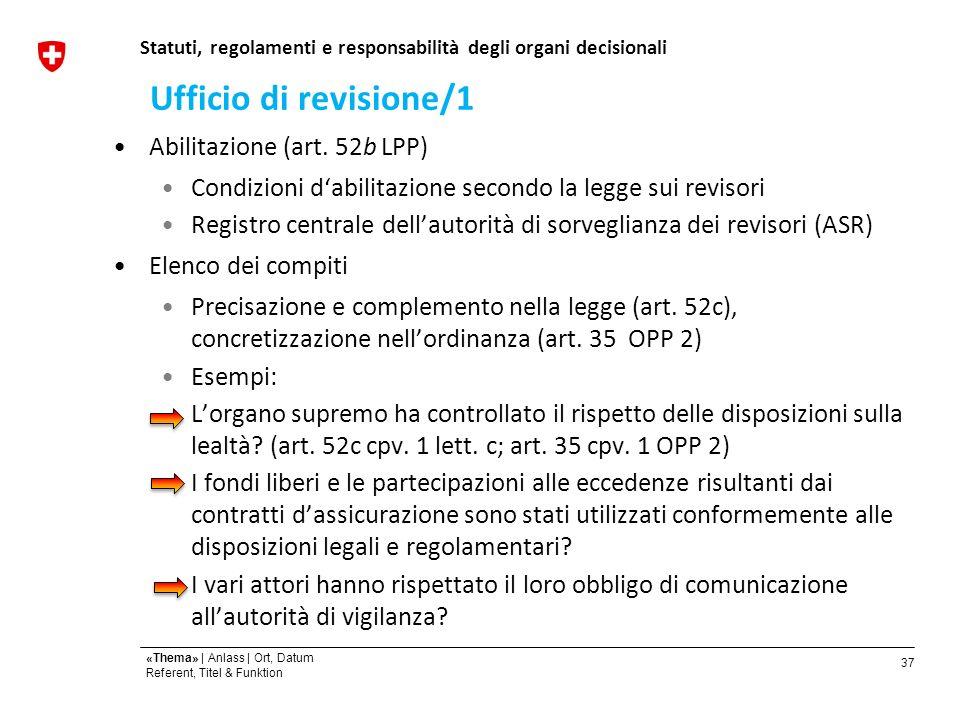 37 «Thema» | Anlass | Ort, Datum Referent, Titel & Funktion Statuti, regolamenti e responsabilità degli organi decisionali Abilitazione (art.
